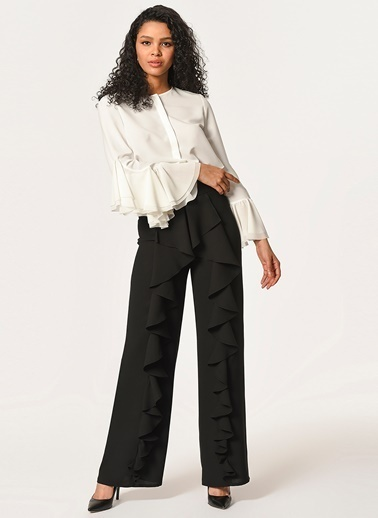 Mizalle Önü Fırfırlı Pantolon  Siyah